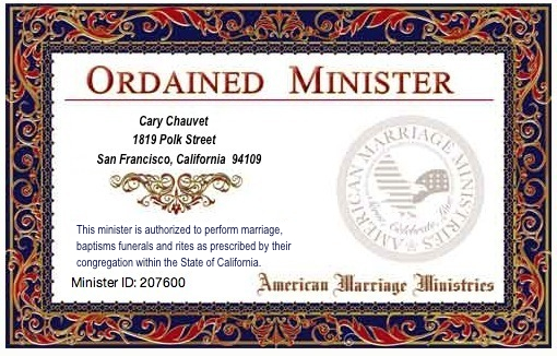 Registered and Certified Ordained Minister